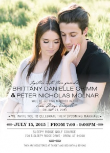 Brittany and Peter Front Wedding Invitations
