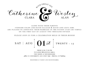 Catherine and Wesley Front Wedding invitations