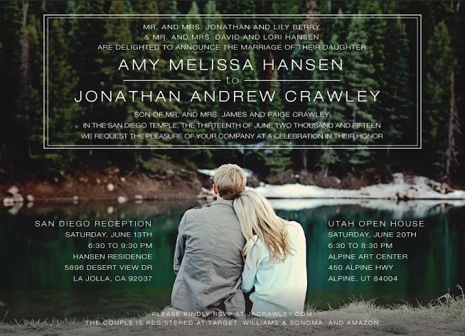 Amy and Jonathan Front Wedding Invitations