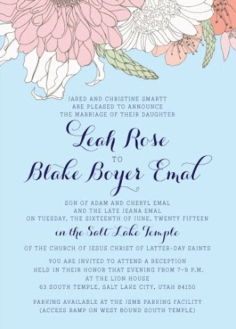 Leah and Blake Front Wedding Invitations