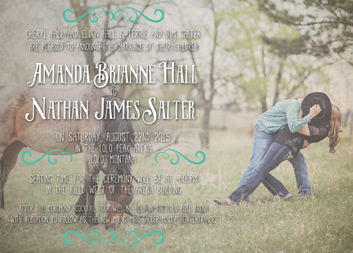Amanda and Nathan Front Wedding Invitations