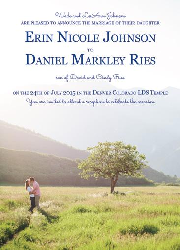 Erin and Daniel Front wedding invitations
