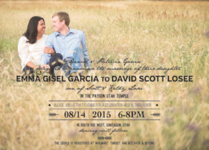 Emma and David Front Wedding invitations