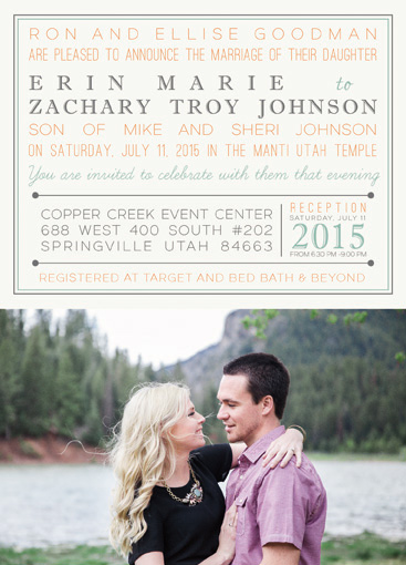 Zachary and Erin Front Wedding Invitations