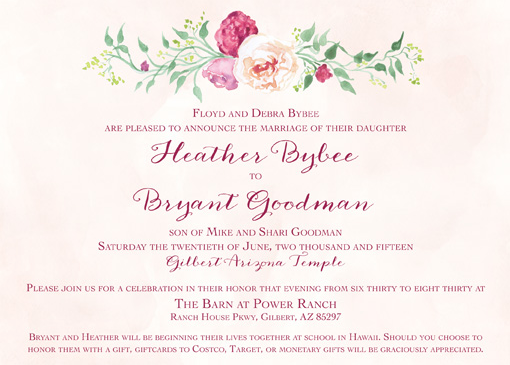 Heather and Bryant Front Wedding Inivtations
