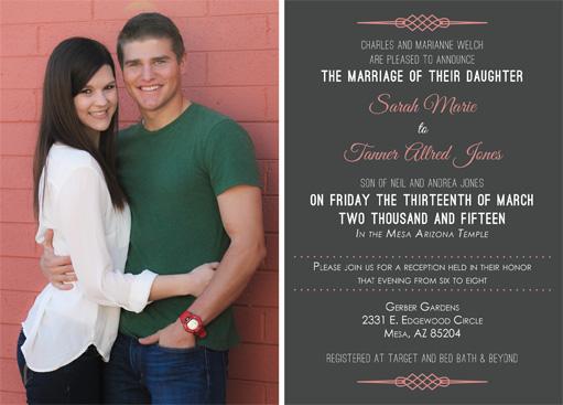 Sarah Welch Back Wedding Invitations