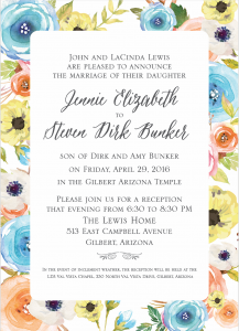 Jennie and Steven Front Wedding Invitations
