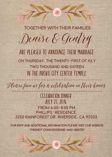 denise wedding invites