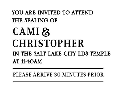 CamiInsert Wedding Invitations Front