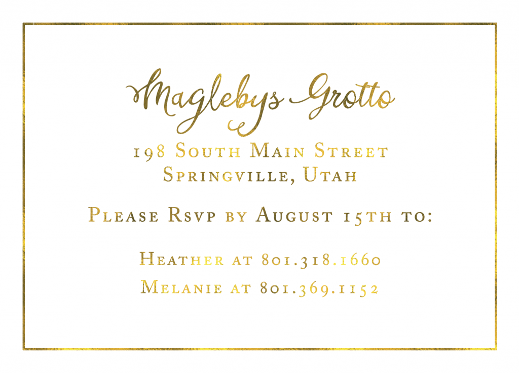 Gold Wedding Invitations Utah
