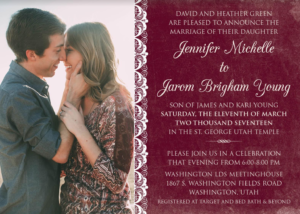 Jennifer-and-Jarom-Front Wedding Invitations