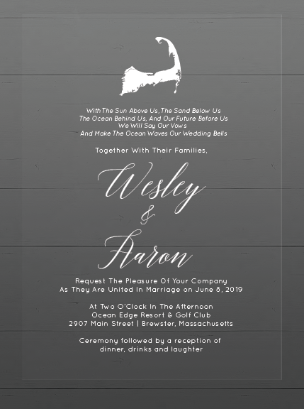 Wesley & Aaron Wedding Invitations