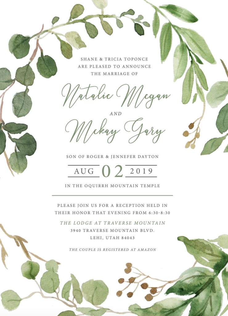 Natalie and Mckay Wedding Invitations