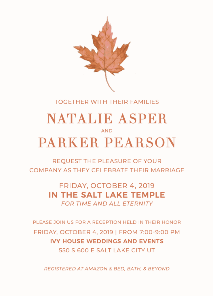 Natalie and Parker Wedding Invitations